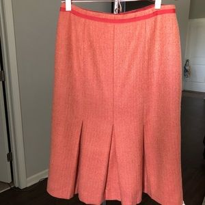 Tweed Box Pleated Pencil Skirt Wool Grosgrain